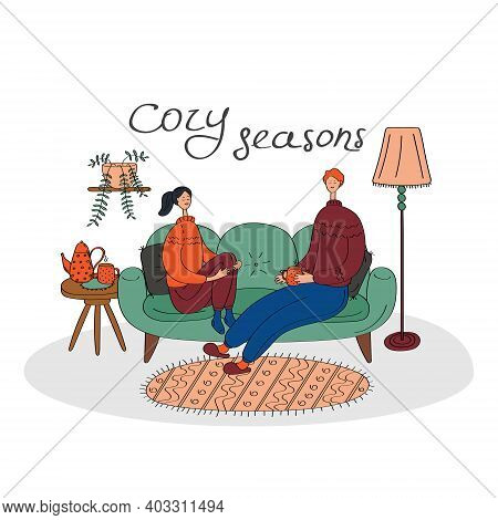 Hygge Card With Happy Couple. Cozy Home, Stay Home Concept. Linear Hand Drawn Vector Illustration Fo