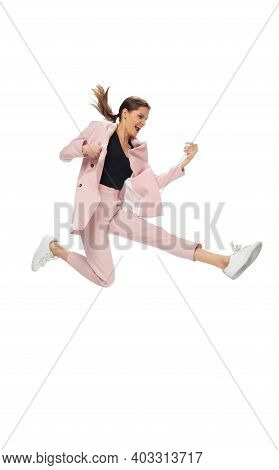 Popstar. Happy Young Woman Dancing In Casual Clothes Or Suit, Remaking Legendary Moves And Dances Of
