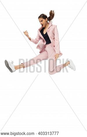Rockstar. Happy Young Woman Dancing In Casual Clothes Or Suit, Remaking Legendary Moves And Dances O