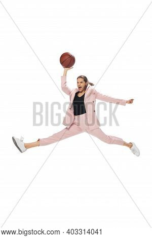 Basketball. Happy Young Woman Dancing In Casual Clothes Or Suit, Remaking Legendary Moves And Dances