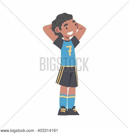 Cute Kid Soccer Player Character, Happy African American Boy In Sports Uniform Playing Football On S