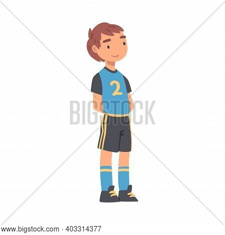 Kid Soccer Player Character, Boy In Black And Blue Sports Uniform Playing Soccer In School Sports Te