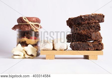Composed Desserts, Such As Brownies, Cookies, Italian Fudge And Brownie Trifle With Dulce De Leche A