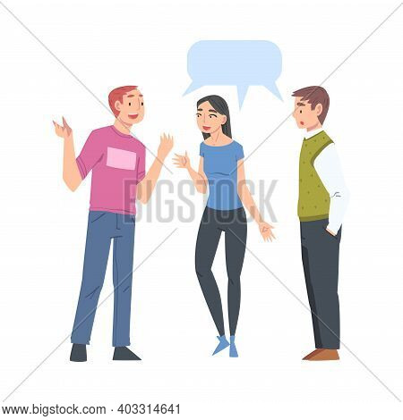 Group Of People Talking To Each Other With Speech Bubbles, Friends Or Colleagues Talking, Gossiping,