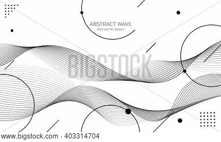Abstract Wave Element For Design. Digital Frequency Track Equalizer. Stylized Line Art Background.