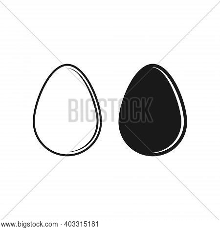Egg Vector Shape Icon. Simple Flat Easter Symbol. Cooking And Food Sign. Bird Eggshell Logo. Clip-ar