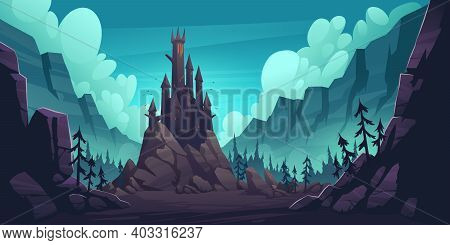 Creepy Castle On Rock At Night, Haunted Gothic Palace In Mountains, Building With Pointed Tower Roof