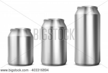 Aluminium Cans Different Sizes For Soda Or Beer Isolated On White Background. Vector Realistic Mocku