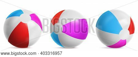 Inflatable Beach Ball, Striped Air Balloon For Play In Water, Sea Or Swim Pool. Vector Realistic Set