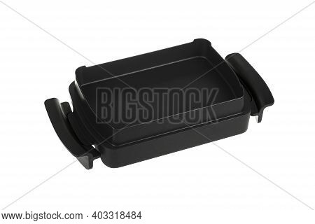 Black Rectangular Baking Dish With Non-stick Coating Isolated On A White Background.