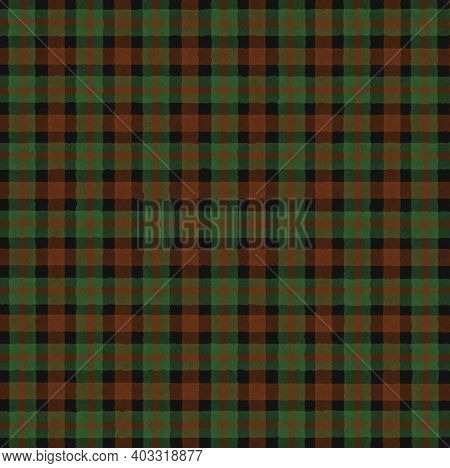 Green Black Orange Brown Vintage Checkered Background With Blur, Gradient And Grunge Texture. Classi