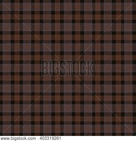Brown Black Gray Orange Vintage Checkered Background With Blur, Gradient And Grunge Texture. Classic