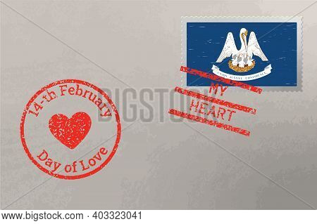 Postage Stamp Envelope With Louisiana Us Flag And Valentine S Day Stamps, Vector