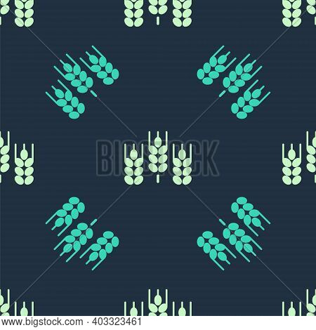 Green And Beige Cereals Set With Rice, Wheat, Corn, Oats, Rye, Barley Icon Isolated Seamless Pattern