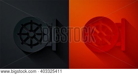 Paper Cut Dharma Wheel Icon Isolated On Black And Red Background. Buddhism Religion Sign. Dharmachak