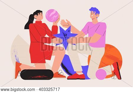 People Organize Abstract Geometric Shapes Scattered Around Them. Young Man And Woman Collecting Figu