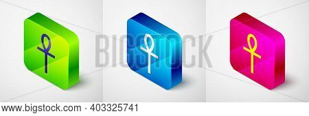 Isometric Cross Ankh Icon Isolated On Grey Background. Square Button. Vector