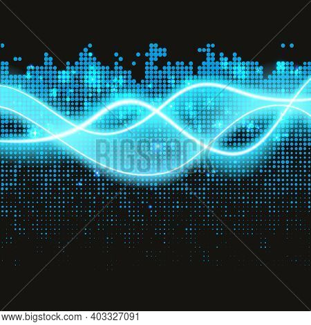 Set Of Magic Glowing Spark Swirl Trail Effect Isolated On Transparent Background. Bokeh Glitter Wave