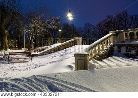 Stairs Covered With Snow In Burgas Sea Garden, Bulgaria. Winter Blue Hour Landscape.