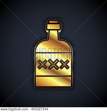 Gold Tequila Bottle Icon Isolated On Black Background. Mexican Alcohol Drink. Vector