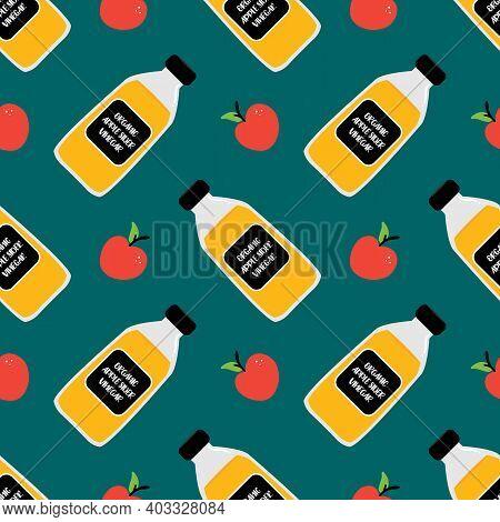 Organic Apple Cider Vinegar Bottles And Apple Fruits Vector Cartoon Seamless Pattern Background.
