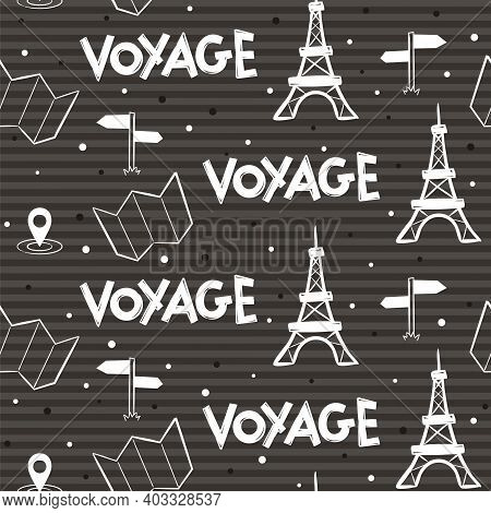 Striped Black And White Seamless Pattern With French Elements. Eiffel Tower, Map, Navigation Icon An