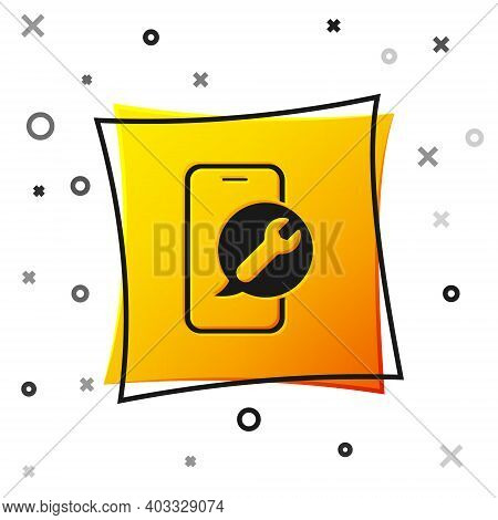 Black Mobile Phone With Wrench Icon Isolated On White Background. Adjusting, Service, Setting, Maint