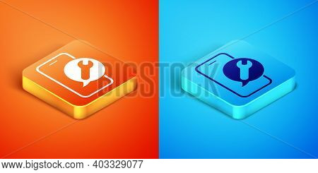Isometric Mobile Phone With Wrench Icon Isolated On Orange And Blue Background. Adjusting, Service,