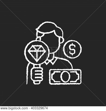 Pawnbroker Chalk White Icon On Black Background. Lending Money In Exchange For Personal Property. Pl