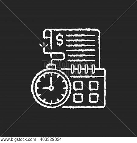 Time Limit Chalk White Icon On Black Background. Repaying By Stated Date. Loans With Term Lengths. M