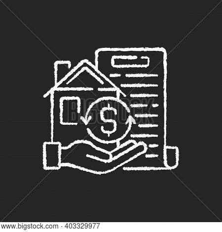 Collateral Chalk White Icon On Black Background. Security For Loan Repayment. Real Estate, Assets Fo