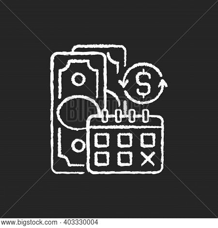 Regular Payments Chalk White Icon On Black Background. Coverage Term. Determined Interval. Recurring