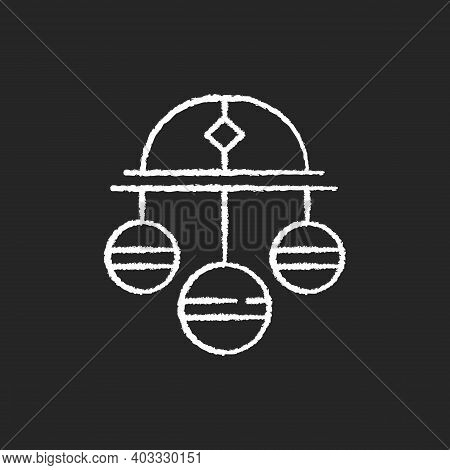 Pawn Symbol Chalk White Icon On Black Background. Three Spheres Suspended From Bar. Monetary Success
