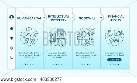 Intangible Investment Types Onboarding Vector Template. Human Capital. Goodwill. Financial Assets. R