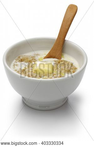 Scottish porridge with milk and butter