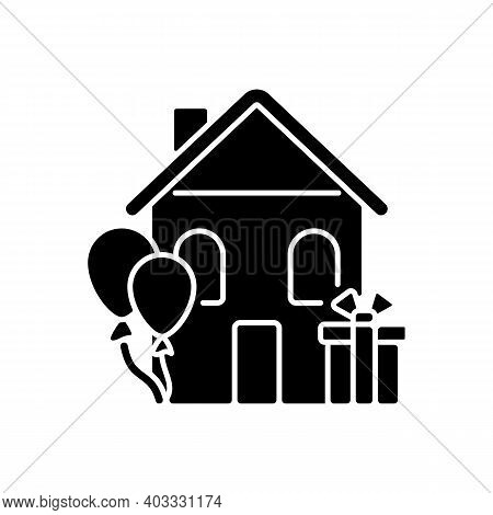 Housewarming Party Black Glyph Icon. Celebrate Moving In New Home. Presents And Gifts For House Warm
