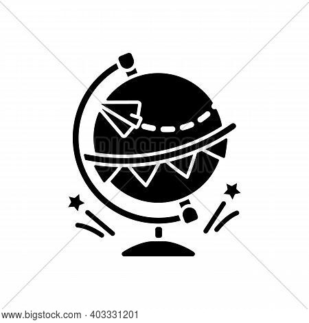 Going Away Party Black Glyph Icon. Travel Abroad. International Tourism. Immigration To Foreign Coun