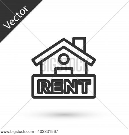 Grey Line Hanging Sign With Text Rent Icon Isolated On White Background. Signboard With Text For Ren