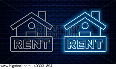 Glowing Neon Line Hanging Sign With Text Rent Icon Isolated On Brick Wall Background. Signboard With