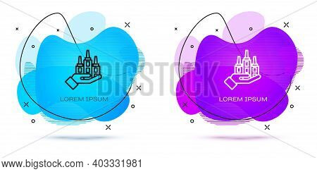 Line Skyscraper Icon Isolated On White Background. Metropolis Architecture Panoramic Landscape. Abst