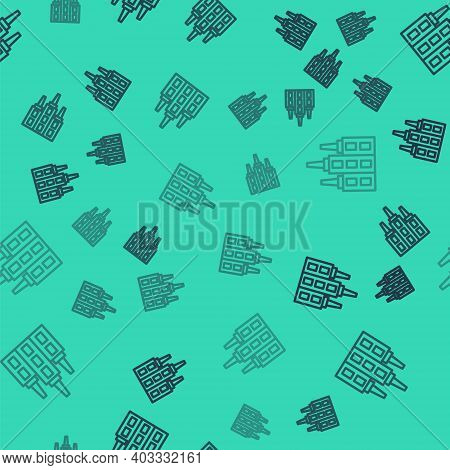 Black Line Skyscraper Icon Isolated Seamless Pattern On Green Background. Metropolis Architecture Pa