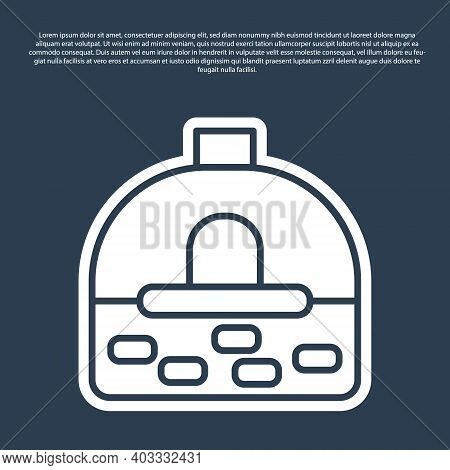 Blue Line Brick Stove Icon Isolated On Blue Background. Brick Fireplace, Masonry Stove, Stone Oven I