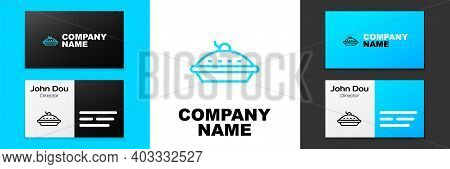 Blue Line Homemade Pie Icon Isolated On White Background. Logo Design Template Element. Vector