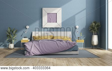 Colorful Double Bed In A Modern Room With Blue Wall, Picture Frame And House Plants - 3d Rendering