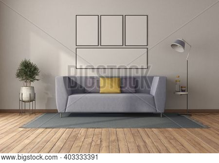 Purple Sofa In A Minimalist Living Room With Blank Picture Frame - 3d Rendering