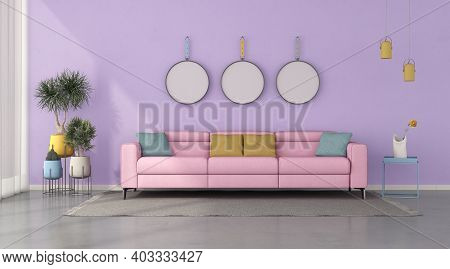 Colorful Living Room With Pink Modern Sofa Against Purple Wall - 3d Rendering