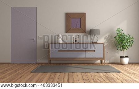 Minimalist Room With Purple Sideboard And Flush Wall Door - 3d Rendering