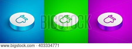 Isometric Line Sauna Mittens Icon Isolated On Blue, Green And Purple Background. Mitten For Spa. Whi