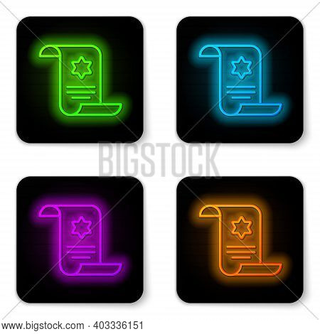Glowing Neon Line Torah Scroll Icon Isolated On White Background. Jewish Torah In Expanded Form. Sta