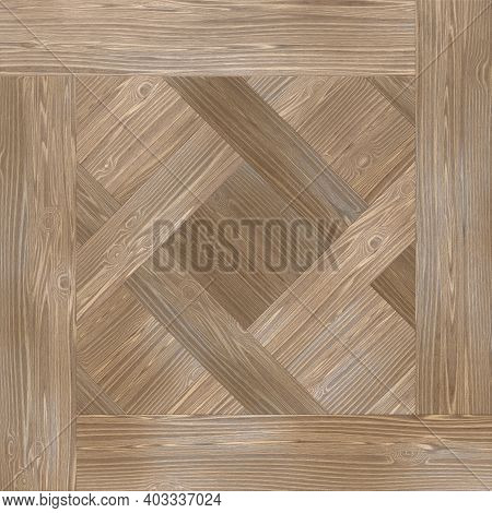 Seamless Oak Laminate Parquet Floor Texture Background. Oak Parquet In Brown Shades. 3d-rendering